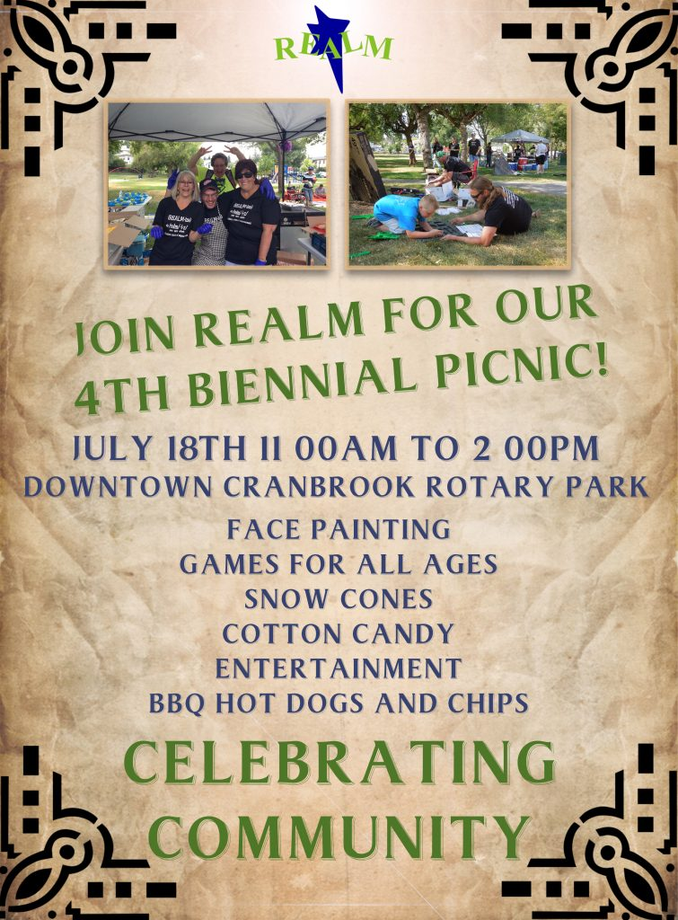 Realm 2019 Biennial Picnic is on July 18th from 11AM to 2 Pm at the rotary park