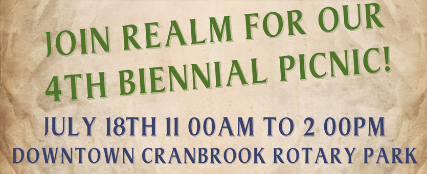 The Realm 2019 Biennial Picnic is on July 18th from 11AM to 2 Pm at the rotary park