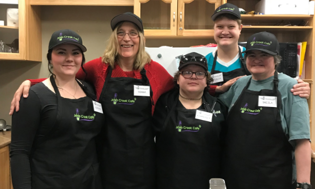 (L to R) Kieran O'Grady, Donna Schwartz, Kimberly Earl, Felicia McKenzie and Sheila Neidig work at Java Creek Café inside Joseph Creek Care Village in Cranbrook. — Photo courtesy Ana Yost